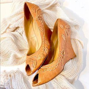 Valentino shoes wedge peep toe leather boho chic